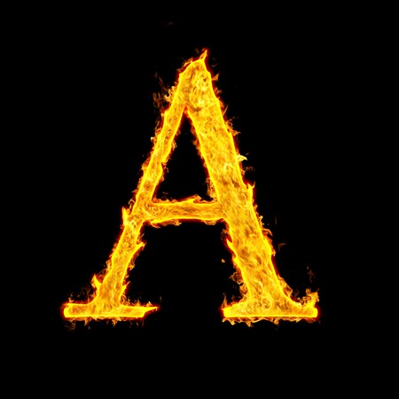 burning alphabet: A , fire letter Stock Photo