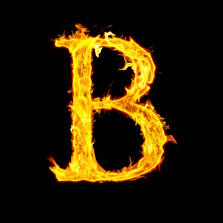 B, fire letter Stock Photo - 7952052