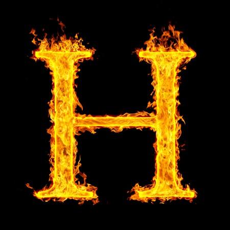 fiery font: h ,fire letter