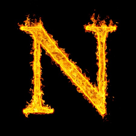 burning alphabet: n ,fire letter