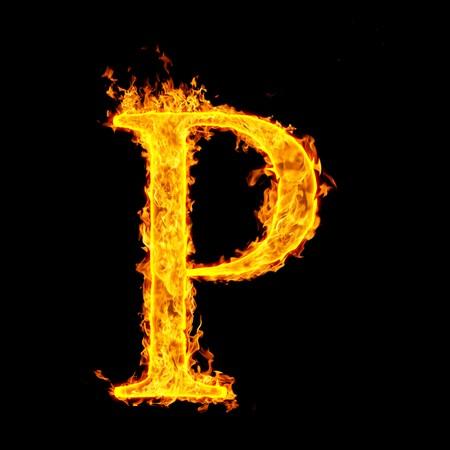flame alphabet: p ,fire letter Stock Photo