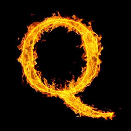 q: q, lettera di fuoco Archivio Fotografico
