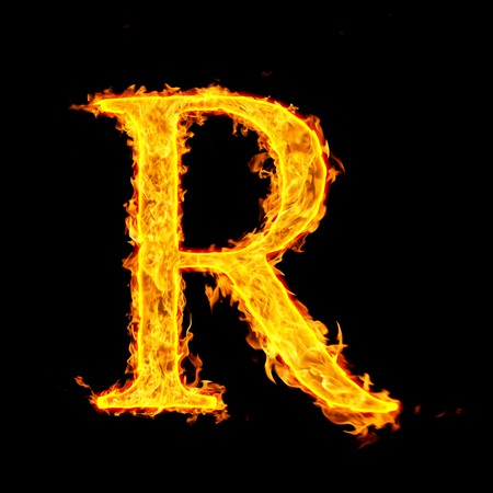 burning alphabet: r ,fire letter