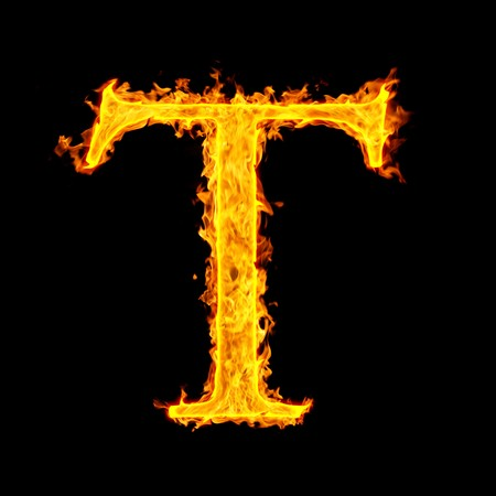burning alphabet: t ,fire letter
