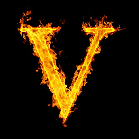 burning alphabet: v ,fire letter Stock Photo