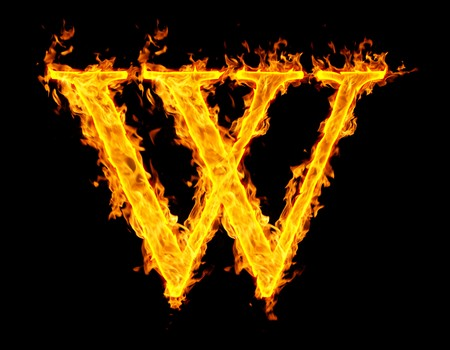 w ,fire letter Stock Photo - 7952095