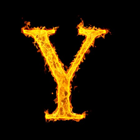 y ,fire letter Stock Photo - 7952012