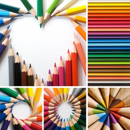 many colored: color pencils, collage