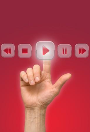 press button: arm press button, touch screen Stock Photo