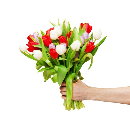 arm of man giving bouquet photo