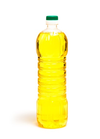 to refine: oil in bottle isolated on white