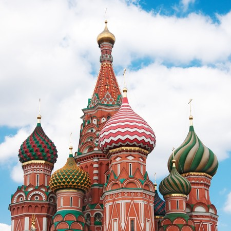 bulbous: St. Basils Cathedral in Moscow on red square