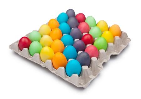 multi color eggs in box photo