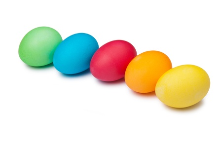 multi color eggs isolated on white photo