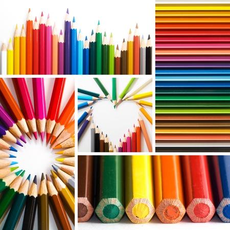 niños con lÁpices: lápices de colores, collage