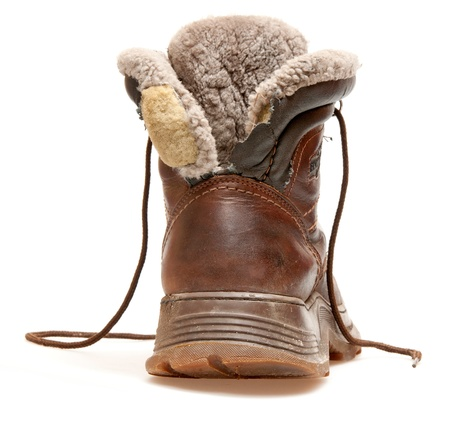 old brown boot isolated on white Stock Photo - 9983276