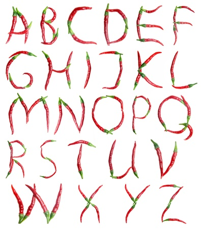 fiery font: alphabet, red hot chilli peppers Stock Photo