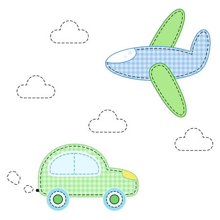 childish aircraft and carfor applique Illustration