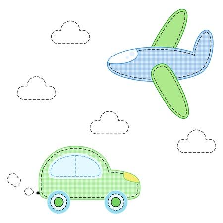 childish aircraft and carfor applique Illustration