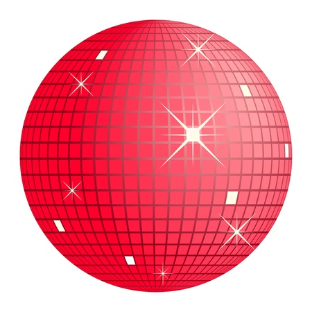 discoball: red disco ball