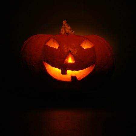 lantern, illuminating pumpkin in dark night Stock Photo - 10694461