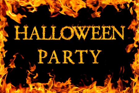 fire font: halloween party in fire frame Stock Photo