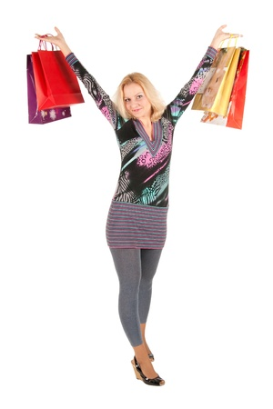 young woman with bags isolated on white Stock Photo - 10767441