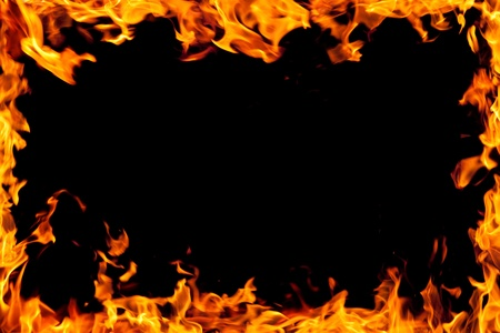 fire frame isolated on black Stock Photo