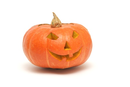 orange pumpkin lantern isolated on white Stock Photo - 10920402
