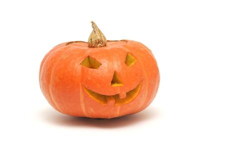 orange pumpkin lantern isolated on white photo
