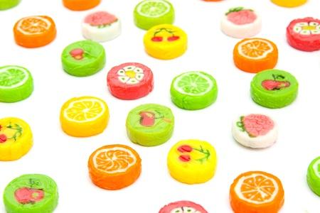 differnt: many differnt tasty candies on white