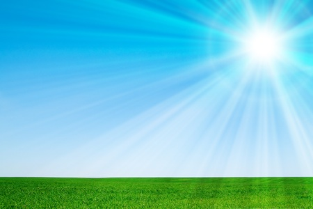 beautiful landscape, green grass, blue sky Stock Photo - 12310082