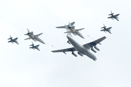 Il-78 is a four-engined aerial refueling tanker, SU-24 is a supersonic, all-weather attack aircraft, Yak-130 is a subsonic two-seat advanced jet trainer aircraft Stock Photo - 12994306