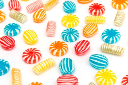 many different color candies on white Stock Photo - 14379366