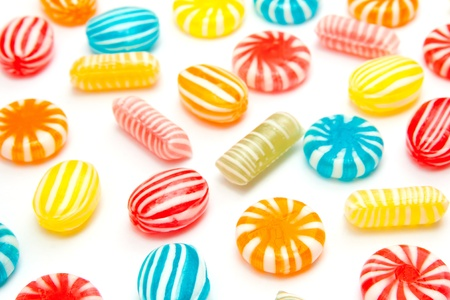 many different color candies on white Stock Photo - 14744510