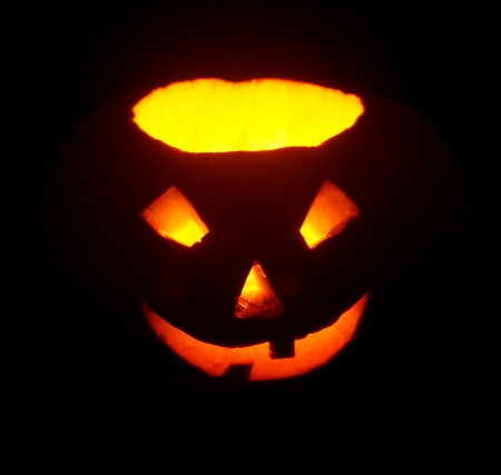 lantern illuminating pumpkin in dark night Stock Photo - 15781511