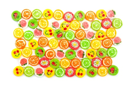 many differnt tasty candies on white Stock Photo - 16440981