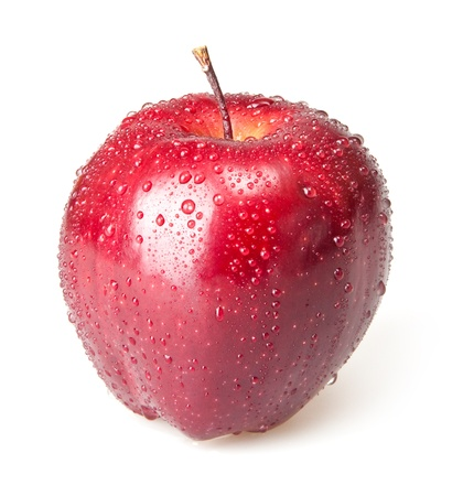 wet red apple isolated on white Stock Photo - 17410978