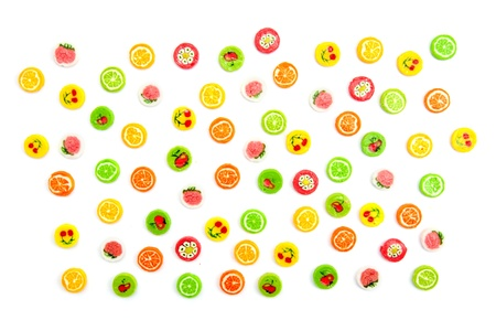 many differnt tasty candies on white Stock Photo - 17410829