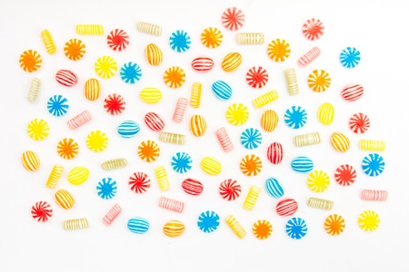 many different color candies on white Stock Photo - 17748468