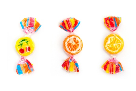 three different candies on white Stock Photo - 18238703