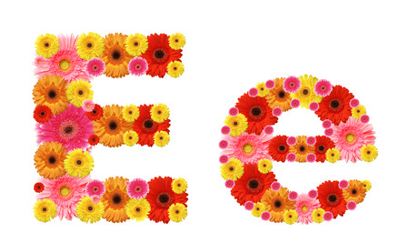e alphabet: e, flower alphabet Stock Photo