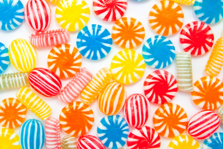 many different color candies, background Standard-Bild