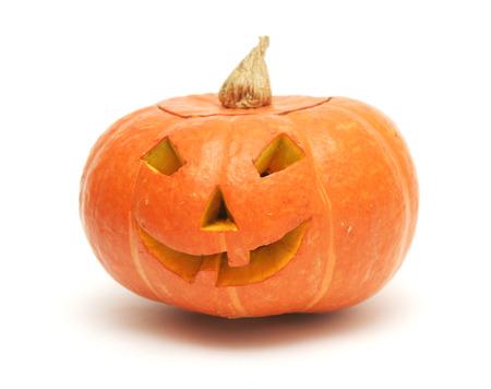 orange pumpkin lantern isolated on white Standard-Bild