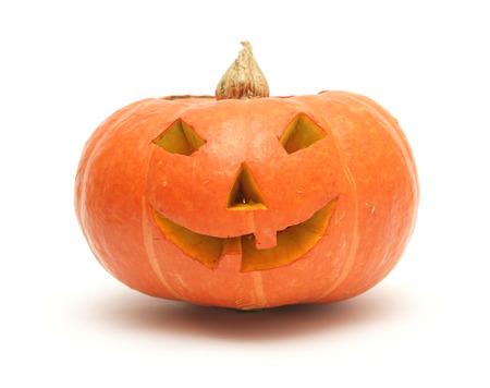 orange pumpkin lantern isolated on white Stok Fotoğraf