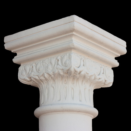 caput: White column capital isolated on black