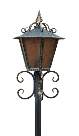 isolaten: One bronze vintage standing streetlight isolaten on white background Stock Photo
