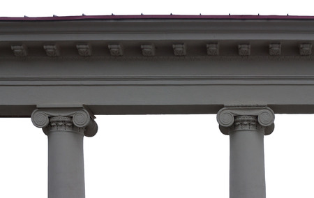 architrave: Architrave with two column capitals ionic isolated on white background