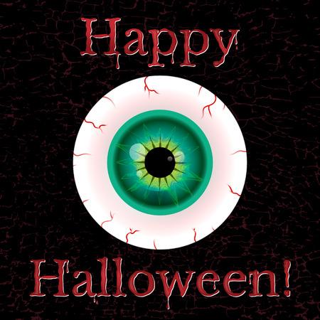 halloween greeting card with eyeball and grunge eggect Vector