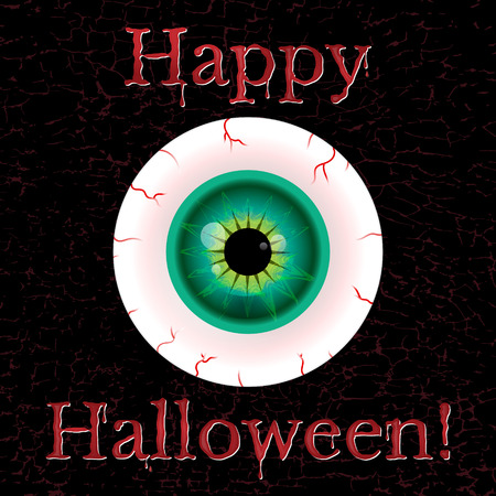 halloween eyeball: halloween greeting card with eyeball and grunge eggect